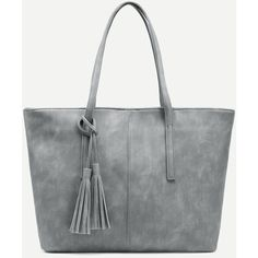 SheIn(sheinside) Grey Distressed Tassel Trim Tote Bag ($20) ❤ liked on Polyvore featuring bags, handbags, tote bags, grey purse, vintage tote bags, vintage handbags, handbags tote bags and tote handbags