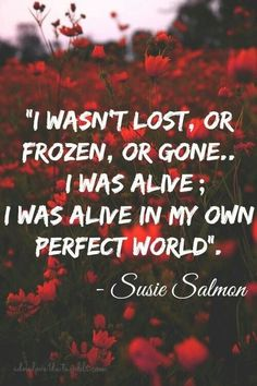 this is one of the quote she says in the movie and the book, that she knows she gone but she also know somewhere better place perfect world