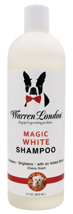 Warren London - Magic White Brightening Dog Shampoo 17oz- Cherry Scented - Cleans, Conditions and Whitens w/ Vitamin E and Almond Oil – No Soap, Detergents, or Parabens – Made in USA ENHANCES AND BRIGHTENS WHITE COATS - Carefully selected premium ingredients are formulated for advanced whitening and conditioning - Dye and bleach free, which will prevent coat from discoloring or fading SOOTHING CHERRY SCENT - Leaves the stinkiest of pets smelling clean and #BakingSodaForHair Baking Soda For Hair, Baking Soda Shampoo, Baking Soda Uses, Natural Dry Shampoo, Mild Shampoo, Dog Shampoo, Brighten Whites, Brown Spots On Skin, Moisturizer For Oily Skin