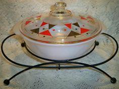 Vintage Fire King Mid Century Casserole Warmer