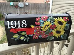 Hand painted mailbox, red & yellow flowers,made to order, sunflowers, custom ordered, address/house number, dragon flies, by DaisyCustomPainting on Etsy