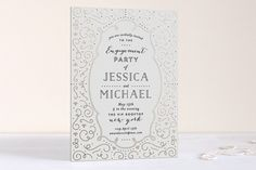 """Deco Style"" - Formal Foil-pressed Engagement Party Invitations in Gold by Phrosne Ras. Wedding Season, Wedding Day, Engagement Party Invitations, Rose Gold Foil, Wedding Planner, Bridal Shower, Stationery, Invites, Design Inspiration"