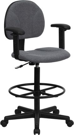 Gray Fabric Ergonomic Drafting Stool with Arms (Adjustable Range 26''-30.5''H or 22.5''-27''H)