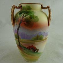 Nippon Porcelain Scenic Three Handled Vase Sold