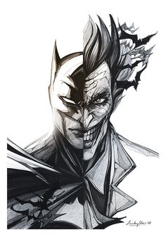 Personnal interpretation of Batman and the Joker sketch and photoshop - by @loulypopart