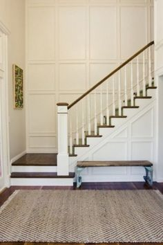 70 Farmhouse Wall Paneling Design Ideas For Living Room, Bathroom, Kitchen And Bedroom Tall Wall Decor, Wainscoting Stairs, Wainscoting Ideas, Half Bathroom Remodel, Budget Bathroom, Simple Bathroom, Master Bathroom, Staircase Remodel, Kitchens And Bedrooms