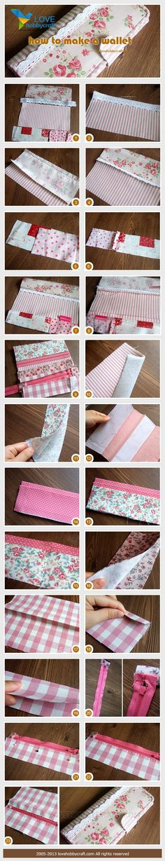 Not in English. I love the added lace! Sew Wallet, Fabric Wallet, Fabric Bags, Diy Sewing Projects, Sewing Tutorials, Sewing Hacks, Sewing Crafts, Purse Patterns, Sewing Patterns