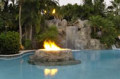 luxury pools with waterfalls | Pool with waterfall