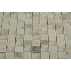 Loft Ming White 1X1 Glass Tile   TileBar.com Bath Design, Master Bathroom, Tile Floor, Marble, Loft, Design Ideas, Flooring, Glass, Restroom Design