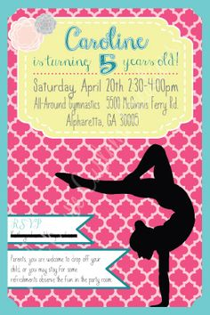 gymnastics invitations, gymnastics birthday invitations, Party invitations