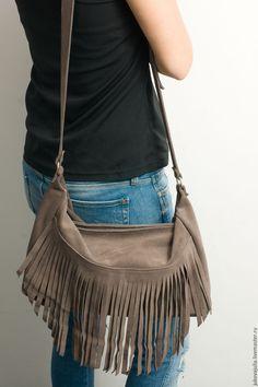 Купить Сумка из натуральной кожи с бахромой из замши замшевая сумка тауп - бежевый, taupe, тауп