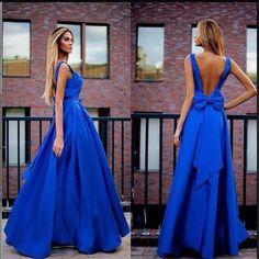 Mavi Kurdelalı Elbise