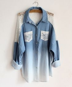 Lovely bat sleeve loose lace collar long denim shirts