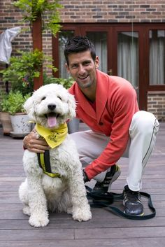 Novak Djokovic (and Bella, the LUCKY rescue dog)