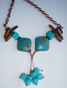Collier turquoise mozaic et nacre  : Collier par adrimag sur ALittleMarket
