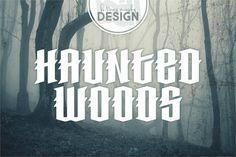 Haunted Woods Font by Brittney Murphy Design (Free) Halloween Fonts, Halloween Flyer, Halloween Signs, Pirate Font, Bold Script Font, Sports Fonts, Haunted Woods, Horror Font, Font Generator