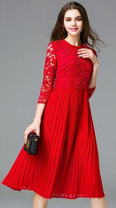 Langes kleid rot spitze
