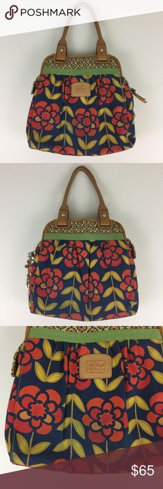 """Fossil Floral Canvas Satchel You will LOVE this bag💕Funky floral canvas - leather trim - 3 large inside sections - 3 small inner pockets - slight bluish discoloration on body from wear - small marks on leather (see photos) - inside is practically new - great pre- loved condition - 14""""x5""""x14"""" - 9"""" shoulder drop Fossil Bags"""
