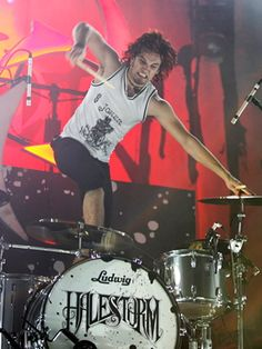 RJ is a badass live drummer.  Very energetic and very skilled. Halestorm is a great band and all of the members are talented