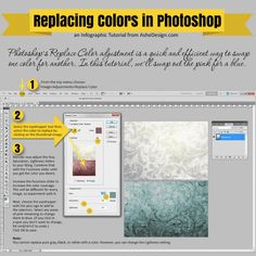 Ashe Design - Replace Color in Photoshop Tutorial. Photoshop's Replace Color adjustment is a quick and efficient way to swap one color for another. In this tutorial, we'll swap out the pink for a blue in 3 easy steps.