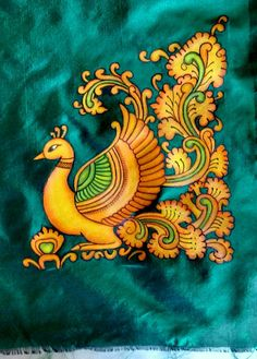 Peacock Painting, Fabric Painting, Fabric Art, Saree Painting Designs, Fabric Paint Designs, Kalamkari Painting, Madhubani Painting, Kerala Mural Painting, Indian Art Paintings