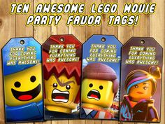 The Lego Movie Birthday Party Favor Tags Loot by InstantBirthday