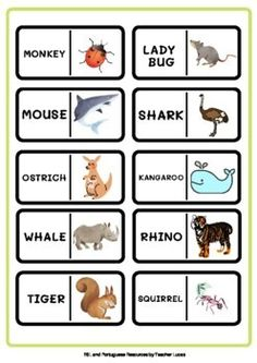 Animals: Domino Game by ESL and Portuguese resources by Teacher Lucas English Activities For Kids, English Worksheets For Kids, Easel Activities, English Language Learning, Teacher Favorite Things, Learning Resources, Higher Education, Squirrel, Shark