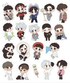 Exo Stickers, Printable Stickers, Cute Stickers, Kaisoo, Chanbaek, Girl Scout Logo, Exo Fanart, Exo Anime, Kawaii Doodles