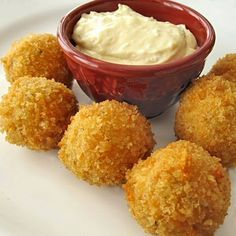 You know that buffalo chicken dip that's been all the rage lately at tailgating parties? I wondered how it would be in bite-size form and deep fried.  The result? Absolutely delicious!