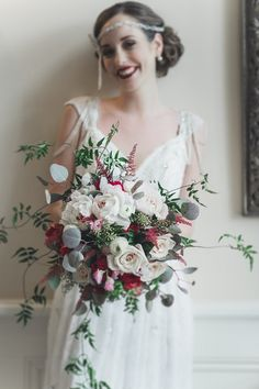 Romantic Art Deco Bridal Bouquet of Roses | Ally Kristensen Photography on @CVBrides via @aislesociety