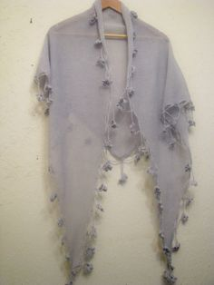 gorgeous knitted  shawl from 100% natural linen by WoolMagicShop