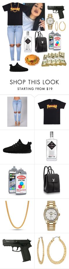 """""""Wrong person to mess with 🔫"""" by queenrosa18 ❤ liked on Polyvore featuring adidas Originals, King Ice, Rolex and Fragments"""