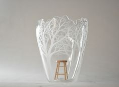 Artist Kayo Yokoyama creates detailed #glass sculptures engraved with trees. She uses hand-held motor drills to carve her #nature scenes. #art #sculpture #glassart