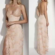 Spaghetti Sexy Backless Long Sheath Gold Lace Side Slit Prom Dresses, PD0271