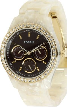 Fossil Stella Brown Dial Cream Bracelet Women's Watch ES2794