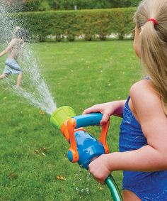 Sound the alarm! Designed to hook easily to any garden hose, this riveting water sprayer shoots jets of water just like a real fire hose. Featuring a maneuverable handle for increasing water pressure and an adjustable nozzle for custom sprays, it's the perfect piece for firefighters-to-be to get soaked and cool off.PlasticRecommended for ages 3 years and upImported
