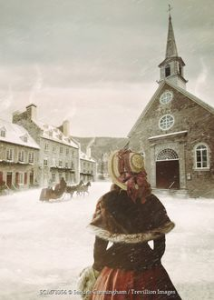 Sandra Cunningham Historical woman walking in snowy village Women