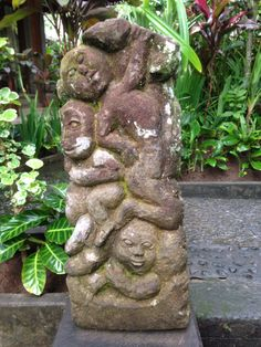 A carved stone carving in my garden in Ubud, Bali