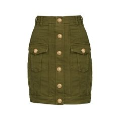 Balmain Button-detail stretch-denim mini skirt (6.990 ARS) ❤ liked on Polyvore featuring skirts, mini skirts, khaki, khaki mini skirt, stretch denim skirt, khaki skirts, military skirt and layered mini skirt