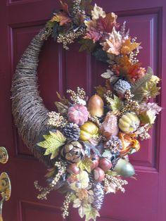 Cornucopia wreath -- using unusual colors.