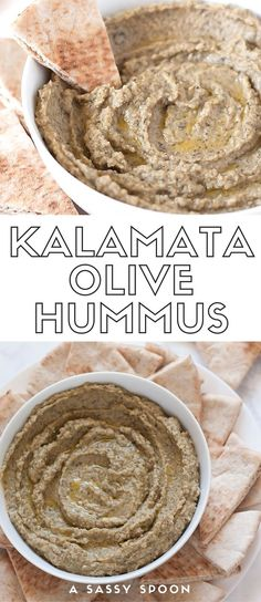 Kalamata olive hummus without tahini! A creamy, boldly flavored hummus made with kalamata olives, garlic, and spices. Perfect snack ready in 5 minutes! via /asassyspoon/