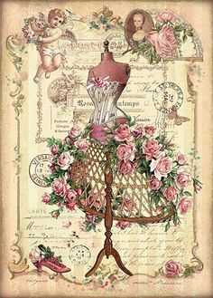Dress form with pink roses - makes a beautiful card