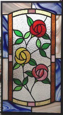 no.211 ステンドグラスパネル 新築 リフォーム 窓 ドア 部屋 ぶどう チューリップ バラ 桜