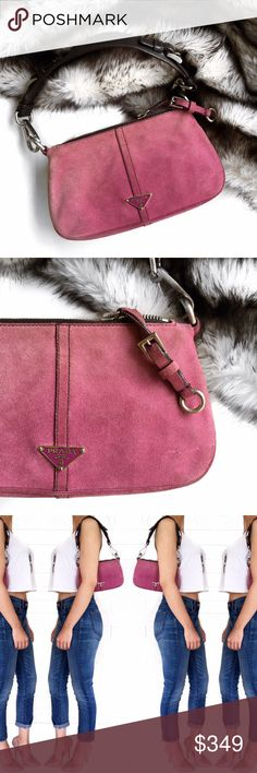 Prada pink suede bag Super chic small pink suede bag by Prada. Some wear and fading to suede as shown but I personally think this only adds character Wear this as a shoulder bag or remove strap for a date night clutch look. No trades. Open to offers Prada Bags