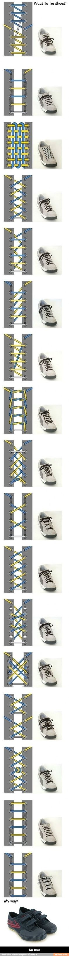 MULTIPLE cool ways to tie your shoes!