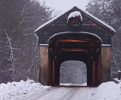 Lovely Old Covered Bridge In Winter.