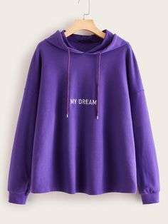 Shop Embroidered Letter Drop Shoulder Drawstring Hoodie at ROMWE, discover more fashion styles online. Trendy Fashion, Fashion Outfits, Pullover, Hoodie, Spandex Material, Trendy Dresses, Types Of Sleeves, Hooded Jacket, Sportswear