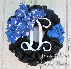Thin Blue Line Burlap Wreath ACU Law Enforcement by JennaBelles Police Officer Wife, Police Life, Thin Blue Lines, Make Time, How To Make Wreaths, Law Enforcement, Burlap Wreath, Appreciation