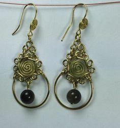 """Bronze -Ohrringe mit Goldobsidian  """" fiorini"""" von LaSombrilla auf DaWanda.com"""