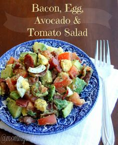 1 ripe avocado, chopped, 2 boiled eggs, chopped, 1 medium-sized tomato, chopped, 2-4 cooked pieces of bacon, crumbled, Salt and pepper to taste, juice from one lemon wedge